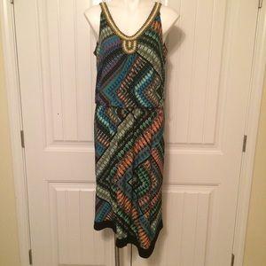 Beaded Vneck, asymmetrical dress